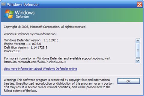 Windows Defender About Screen